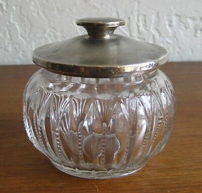 Vintage Art Deco Sterling Silver Pressed Glass Lidded Vanity Powder Dresser Jar