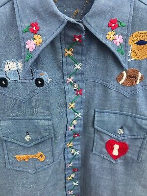 60s 70s Wrangler Vintage Custom Embroidered Western Show Costume Shirt 32 M Blue