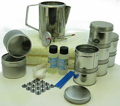 Soy wax candle making kit: 10 tins, fragrance, 1000g soy wax, jug & thermometer