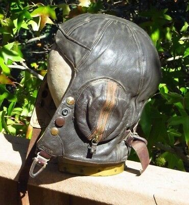 Original WW2 British Canadian RAF RCAF B Type Flight Flying Helmet Skull Cap