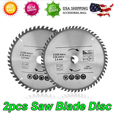 "2pcs 10"" Circular Saw Blade 40/60 Teeth Wood Cutting Tool Bore Diameter 30mm"