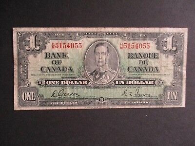 1937 Series Canada Circulated One Dollar Banknote Note