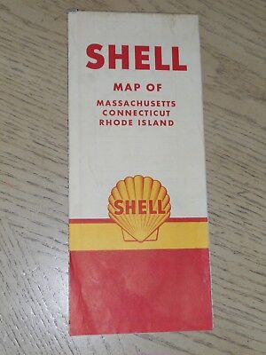 1958 Shell Oil Gas Massachusetts Connecticut Rhode Island State Highway Road Map