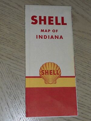 VINTAGE 1953 Shell Oil Gas Indiana State Highway Road Map Hammond Gary Michigan