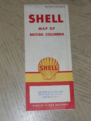 1959 Shell Oil Gas British Columbia Canada Province Highway Road Map STAMP Clove