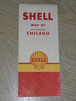 VINTAGE 1951 Shell Oil Gas Chicago Illinois City Street Road Map Route 66 Joliet