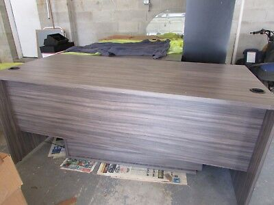 Office Furniture Wood L Shaped Executive Desk Heather Grey W 2 Drawer Cabinet