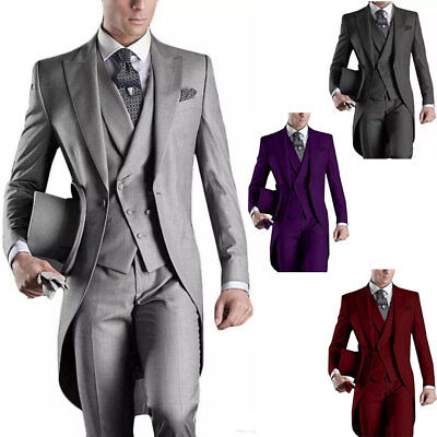 3PCS Men's Suits Groom Tuxedos Wedding Formal Swallowtail Tailcoat Vest Trousers