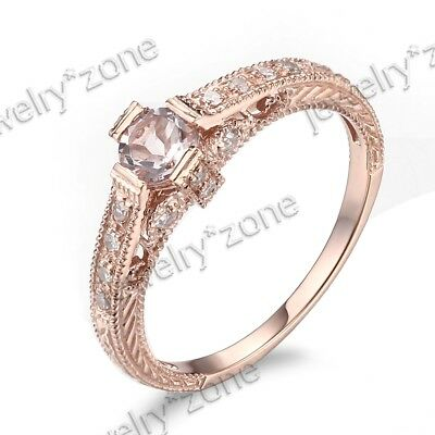 Full Cut Diamonds Morganite Jewelry Vintage Engagement Ring 925 Sterling Sliver