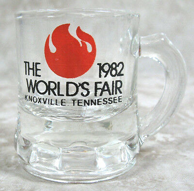 Shot Glass 1982 World's Fair Miniature Glass Mug Knoxville TN Tennessee