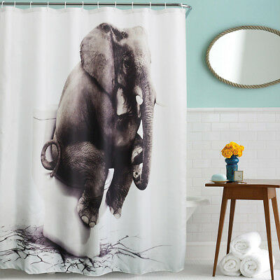 "3D Waterproof Elephant Polyester Bathroom Shower Curtain with 12hooks 70""*70"""