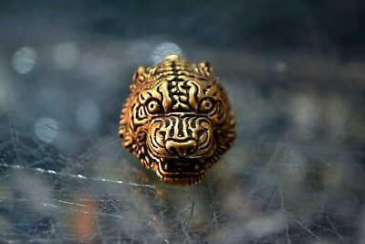 Antique Collectible Rare Brass Handwork Chinese Zodiac Tiger Amulet Old Pendant