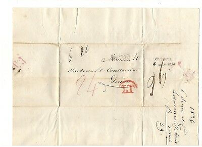 1836 Stampless Folded Letter, Livorno, Italy, Stl Pm