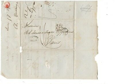 1854 Stampless Folded Letter, London To Paris, Ref:  Debit