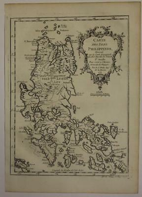 Northern Philippines 1752 Jacques Nicolas Bellin Antique Copper Engraved Map