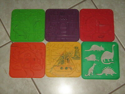 TUPPERWARE TUPPERTOYS PICTURE RUBBING TEXTURE PLATES 5 DOUBLE-SIDED + Stencil