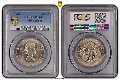 1963 New Zealand 1/2 Crown PCGS GRADED - MS64 - #265