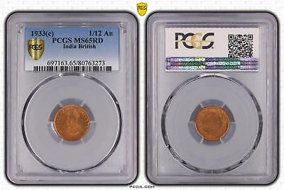1933c India British 1/12 An PCGS GRADED - MS65RD - #273