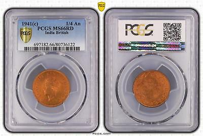 1941c India British 1/4 An PCGS GRADED - MS66RD - #122