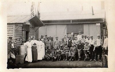 Carte photo LA COURNEUVE près DRANCY Hopital HOE 35/1 Poilus Zouaves 1914 1918