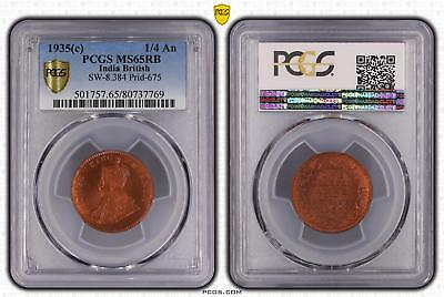 1935c India British 1/4 An PCGS GRADED - MS65RB - #769