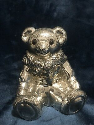 "Ralph Lauren Bear Coin Bank ""POLO""  Silverplated HEAVY"