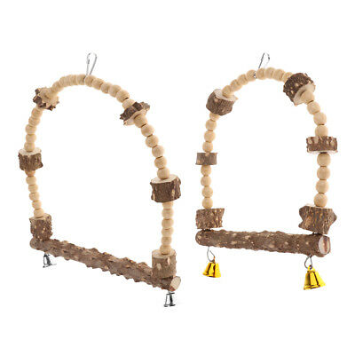 Natural Wooden Birds Perch Parrot Play Toys Stand Holder Swing Bell Cage Hanging