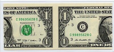 Rare One Dollar Bill Cutting Error Two Prints On One Note