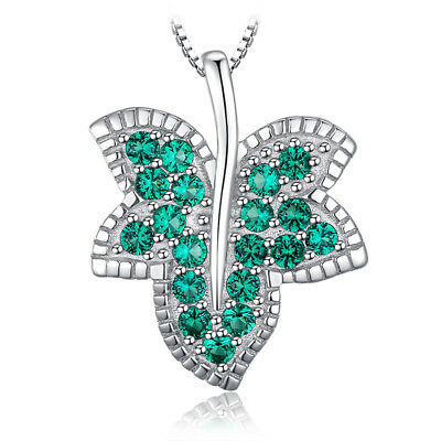 JewelryPalace Milgrain Maple leaf Simulated Emerald Pendant 925 Sterling Silver