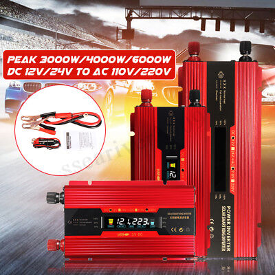 3000W-6000W Car Power Inverter 12/24V to 110V/220V Modified Sine Wave Converter