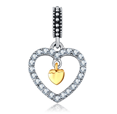 10 Fashion Heart European CZ Charm Crystal Spacer Beads Fit Necklace Bracelet