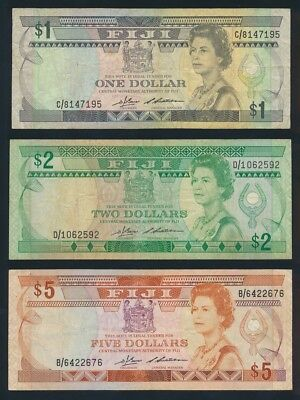 "Fiji: 1983 $1, $2 & $5 QEII Sig Barnes-Siwatibau ""SET OF 3 NOTES"". Pick 81a-83a"