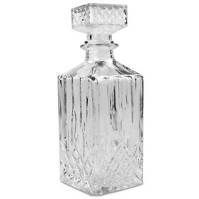 Alpina 1 Litre Square Clear Glass Whiskey Decanter Liquor Brandy Wine Drinks Jar