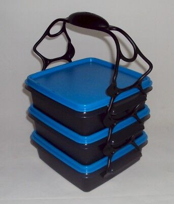 Tupperware Quartet Sandwich Keepers Square Aways Goody Box w/ Handle Black Blue