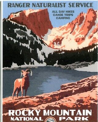 Postcard Of Vintage Trave; Poster Rocky Mountain National Park Reproduction