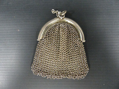 Antique Silver Sterling Mesh Chatelaine Bag Coin Purse