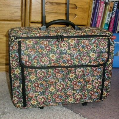 Sewing Machine Case On Wheels Rolling Tote, Carry Travel Storage Luggage  NEW!!