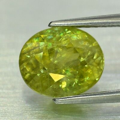 1.82ct 7.8x6.5mm Oval Natural Greenish Yellow Sphene, High Luster