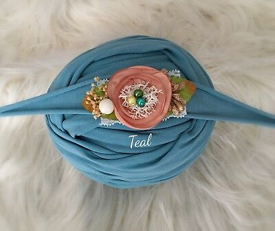 Teal Cotton Jersey Stretch Wrap Headband Set Baby Newborn Photo Prop