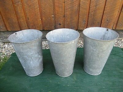 "ANTIQUE 3 Maple Syrup OLD Galvanized Sap TAPERED Buckets 13"" High"