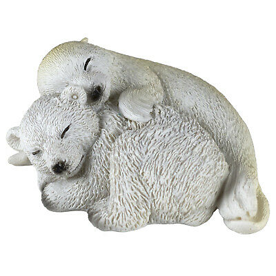"Baby Polar Bear and Seal Figurine 3"" Long Resin New In Box!"
