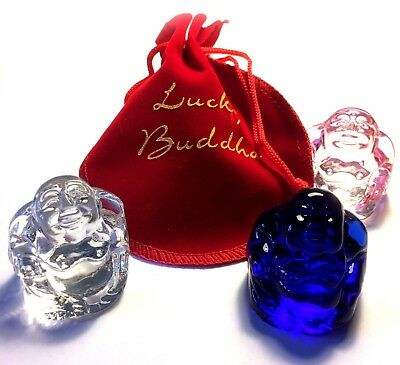 Glass Lucky Buddha in Red Pouch Bag