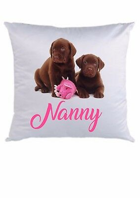 PERSONALISED CUSHION COVER  * ANY NAME ADDED * 16 x 16  *CHOCOLATE LABRADORS