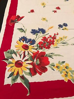 "Vintage Mid Century PRINT Wilendur Tablecloth Poppies RED 55"" x 50"""