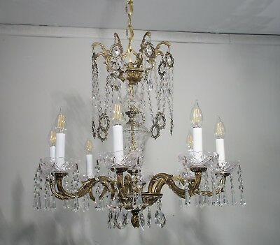 Antique Vintage Chandelier Bronze Crystal French 8 Light Fixture Lamp Quality
