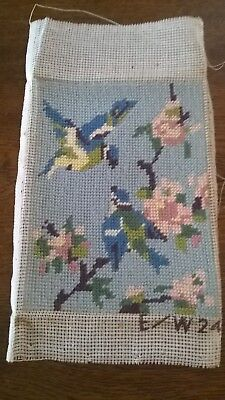 Small Completed Tapestry Of Blue Tits  Sitting On A Branch