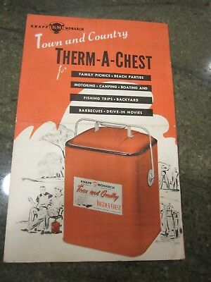 1950's Knapp Monarch Town and Country Therm a Chest Red Metal Cooler  BROCHURE