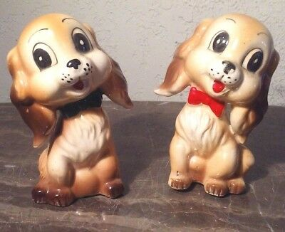 Commodore Cocker Spaniel Dog Dogs Salt And Pepper Shakers Ceramic Japan