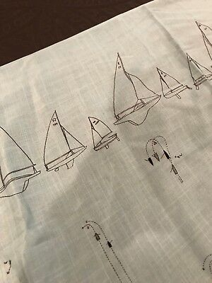 """Vintage Fabric Blue Sailboats Nautical OVER 5 YARDS 182"""" X 43"""" OPPENHEIMER NOS"""