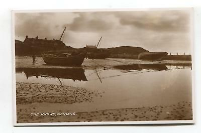 Maidens - The Knowe, coast, houses, boats - old Ayrshire real photo postcard